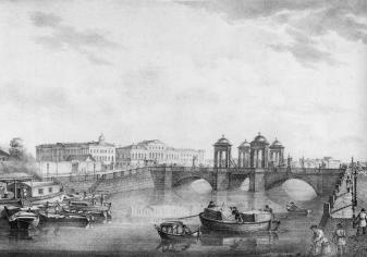Obukhovsky Bridge. Lithograph by C.P.Beggrow. 1822.