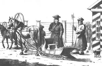The Cab Driver and the Policeman. Lithograph. 1820s.