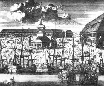 Troitskaya Square on Gorodovoy Island. Engraving by A.I.Rostovtsev. 1716.