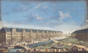 Building of the Twelve Colleges and Gostiny Dvor. By F.Y.Alexeev (?) of the drawing by M.I.Makhaev. The 1780s.