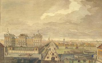 Anichkov Palace and Nevsky Prospect from Fontanka Banks. Engraving by Y.V.Vasilyev of the drawing by M.I.Makhaev.1753.