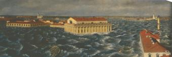 Panorama of the Flood in St.Petersburg on November 7, 1824. By I.F.Tilquer. 1824-25. Fragment.