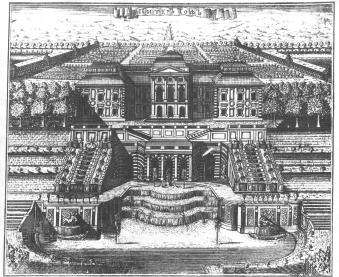 Peterhof. Engraving by A.I.Rostovtsev. 1716.