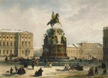 Monument to Nicholas I. Lithograph by J.Jacotte and C.K.Bachelier from the drawing by I.I.Charlemagne and Duruy. The mid-19th century.