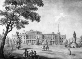 View of the Mikhailovsky Palace from the Field of Mars. Drawing by G.Quarenghi. The early 19th century.