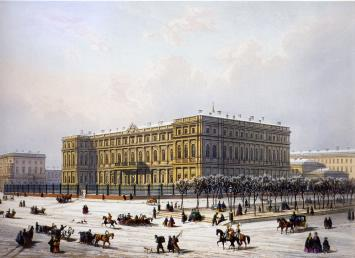 Nikolaevsky Palace. Lithograph by J.Jacotte and C.K.Bachelier from the drawing by I.I.Charlemagne. The mid-19th century.