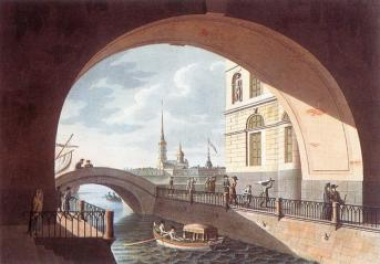 Winter Canal.Watercolour by I.Urenius. 1815.