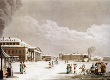 Teatralnaya Square. Engraving by D.Clark and M.Du Bourg from the original of Mornay. 1815.