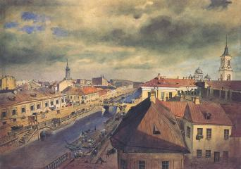 Ekaterininsky Canal. Watercolour by F.F.Bagants. The early 1860s.