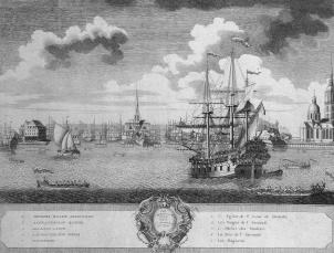 View of the Admiralty form the River. Engraving by О. Elliger. 1729.