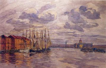 View of the Malaya Neva River from the Tuchkov Bridge. Painter A.P.Ostroumova-Lebedeva. 1912.