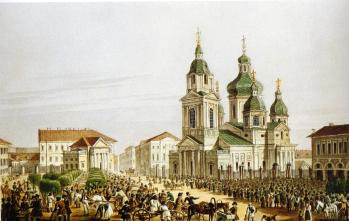 View of the Sennaya Square with the Church. Watercolour by A. P. Beggrow from the original of A.P.Bryullov. 2nd half of 1820s.