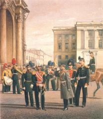 Regimentals of the Preobrazhensky Life Guards Regiment. Drawing by K.K.Piratsky. 1863.