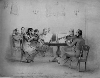 Quartet at М.Y.Vielgorsky's. Lithograph by P.Rohrbach. 1840s.