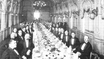 Banquet at the Donon Restaurant. Photo, 1910s.