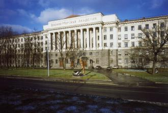 Building of Naval Academy on Ushakovskaya Embankment.