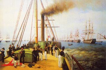 Imperial Inspection of Baltysky Navy Fleet in 1848. By A.P.Bogolyubov. 1850-60.