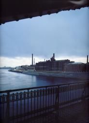 Industrial architecture. The view of Sinopskaya Embankment from Bolsheokhtinsky Bridge.