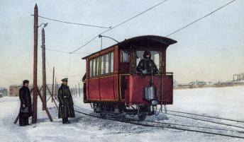 Tram Line on the Frozen Neva River. Photo, the early 1900s.