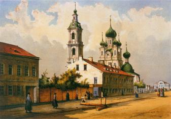 Holy Annunciation Church on Vasilievsky Island. Lithograph by F.-V.Perrott. 1840s.