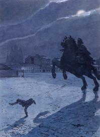 A.N.Benois. The frontispiece to the poem by Alexander Pushkin The Bronze Horseman. 1905.