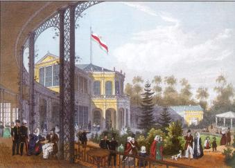 Vauxhall in Pavlovsk. Lithograph by K.K.Schultz from the original by I.I.Meyer. 1845.