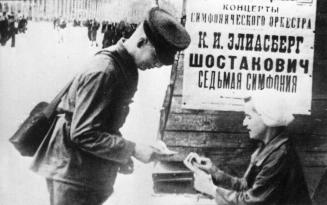 Sale of tickets for the premiere of the Seventh Symphony by D.D.Shostakovich. 1942.