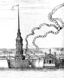 D.Trezzini. SS. Peter&Paul Cathedral and the Petrovskie Gates of Peter&Paul Fortress. A fragment of Saint Petersburg Panorama. Engraving by A.F.Zubov, 1716.