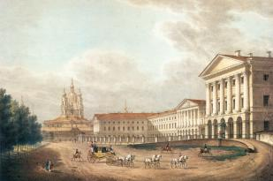 Smolny Institute. Lithograph by C.P.Beggrow from the original by S.F.Galaktionov. 1823.